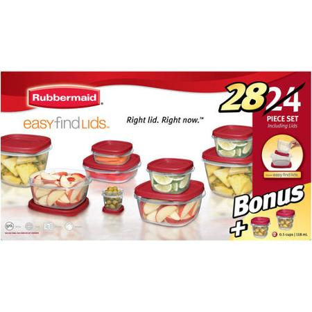 Walmart Value Of The Day: Rubbermaid Easy Find Lids 24-Piece Plus 4 Food Storage Set (Only $9.97)