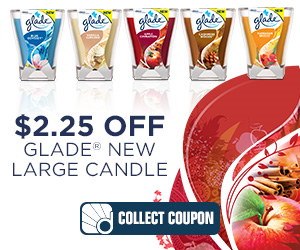 $2.25 off on any one Glade 9.2oz Large Candle