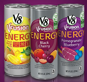 Free V8 +Energy Carbonated Beverage at Select Stores