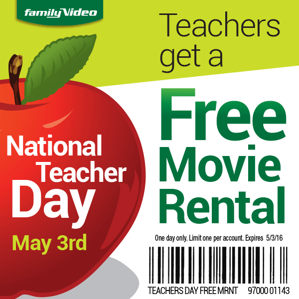 Teachers – Get a Free Movie Rental at Family Video (Today Only)