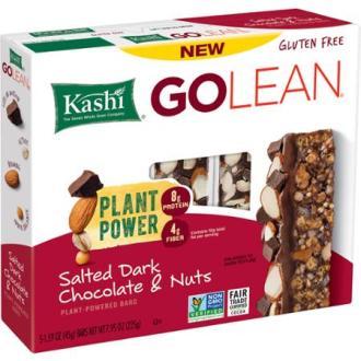 kashi golean plant-powered bars salted dark chocolate & nuts