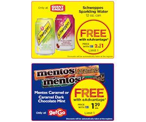 Giant Eagle & getGO – Free Schweppes & Mentos Caramels