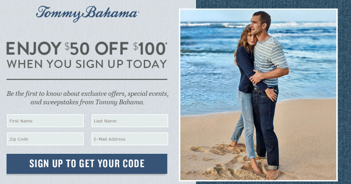 Get$50 off $100+ at Tommy Bahama!