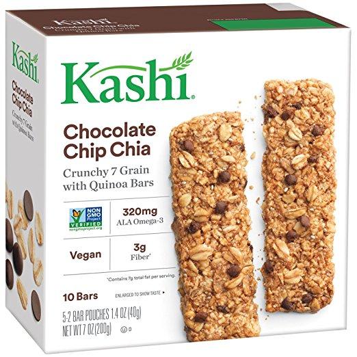 Kashi Crunchy Chocolate Chip Chia Bar 10ct ONLY $0.25 on Amazon