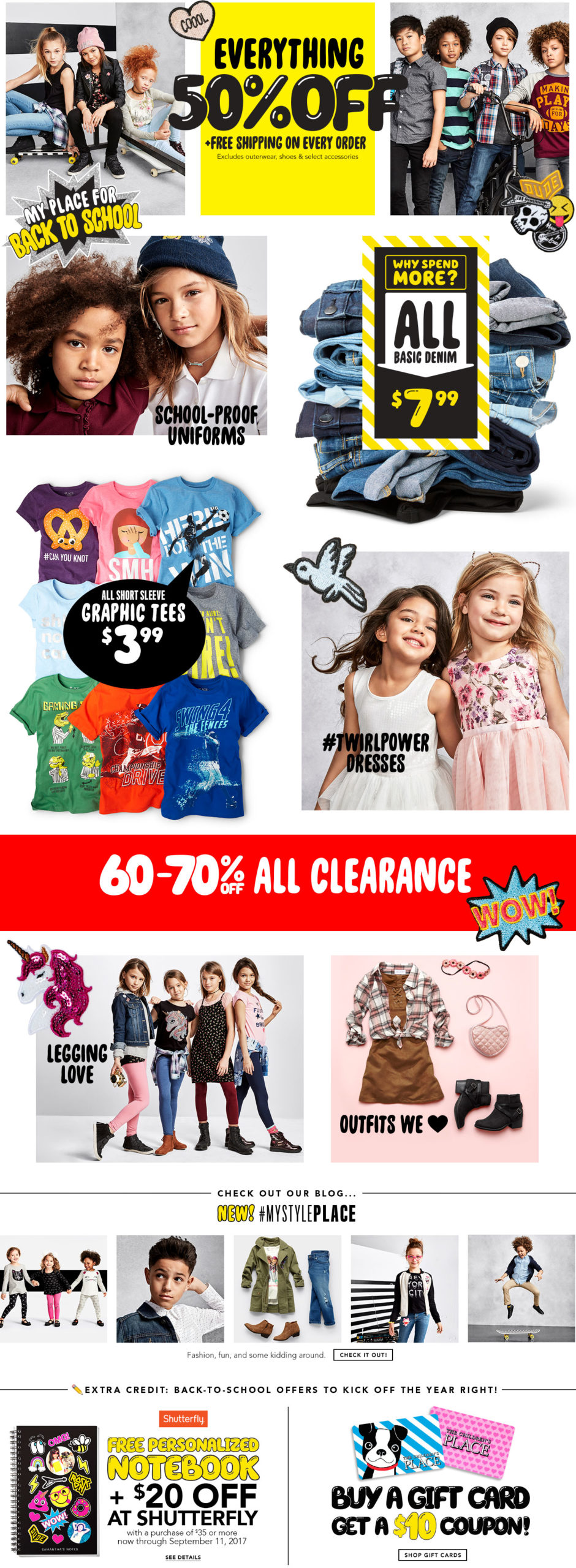 *HOT* The Children's Place – 50% off Sitewide + Free Shipping
