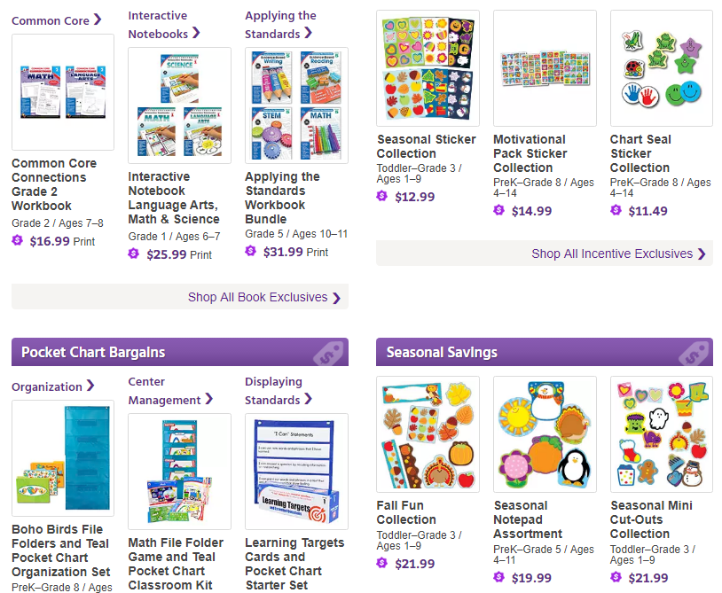 Save Up To 55% on teacher resources including books, pocket charts, decoratives, stickers, incentives, and more!