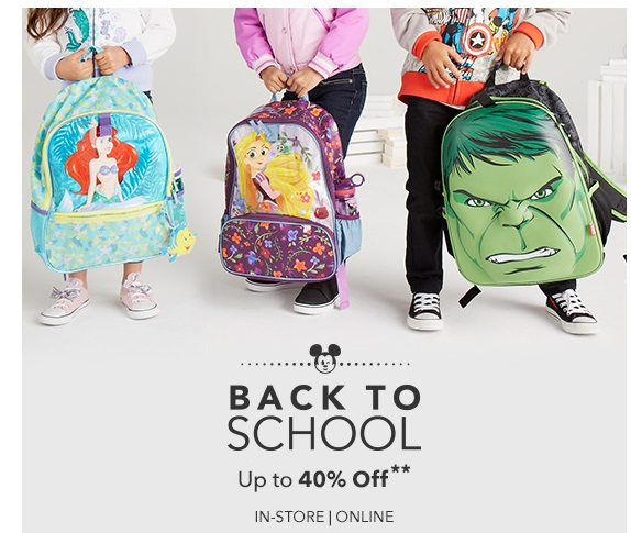 Save Up To 40% on back to school items at the Disney Store!