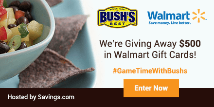#GameTimeWithBushs $500 Walmart Giveaway + $0.75/2 Bush's Bean Coupon!
