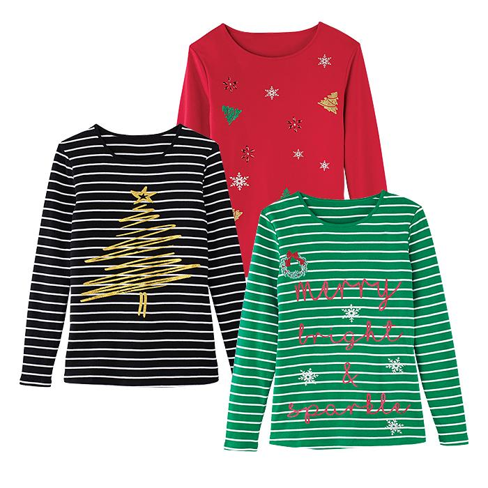 Long Sleeve Holiday Tees Only $16.99 (Was $24.99)