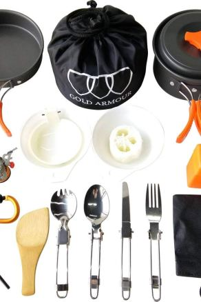 Gold Armour 17-Pc Camping Cookware Mess Kit