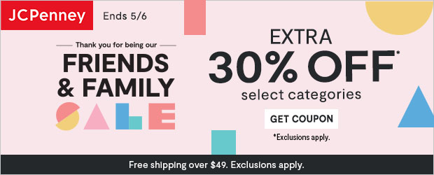 JCPenney -Save An Extra 30% Off At The Friends & Family Sale