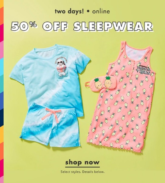 2 Days Only – Save 50% Off On Sleepwear At Justice