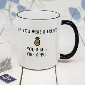 Personalised Fine-Apple Black Rimmed Mug