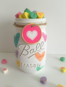 Valentines Day Mason Jars. Conversation Hearts Mason Jar