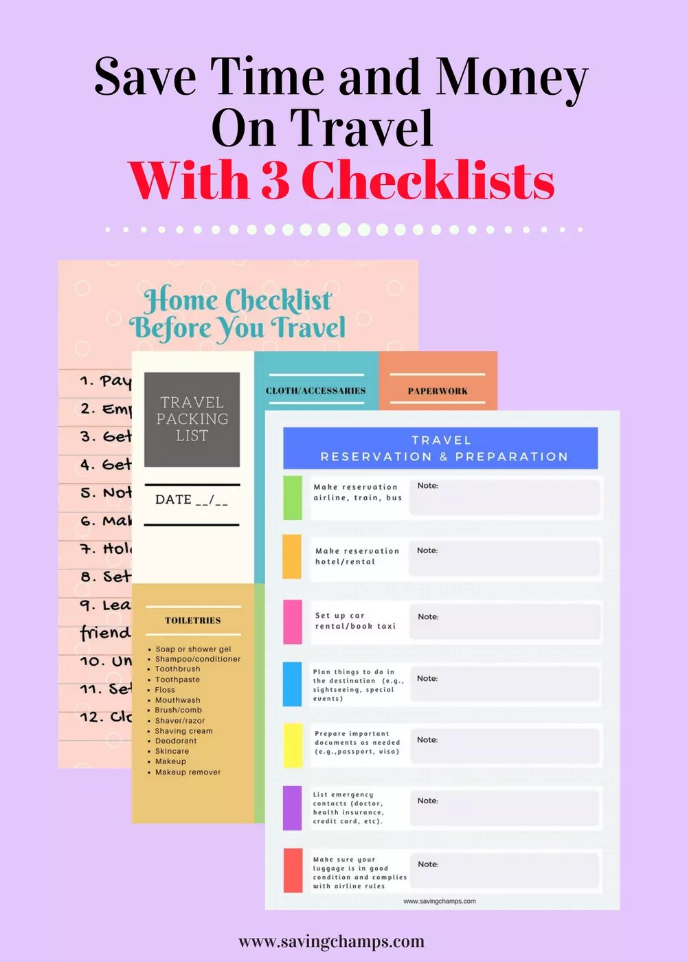 travel checklists for saving time and money on travel