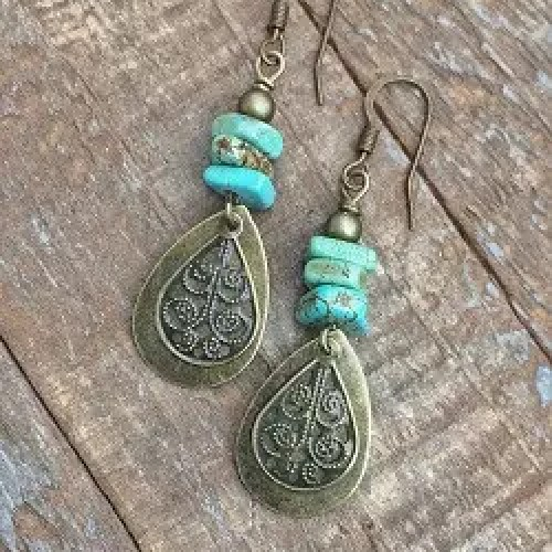 Boho Dangle Earrings with Green Turquoise