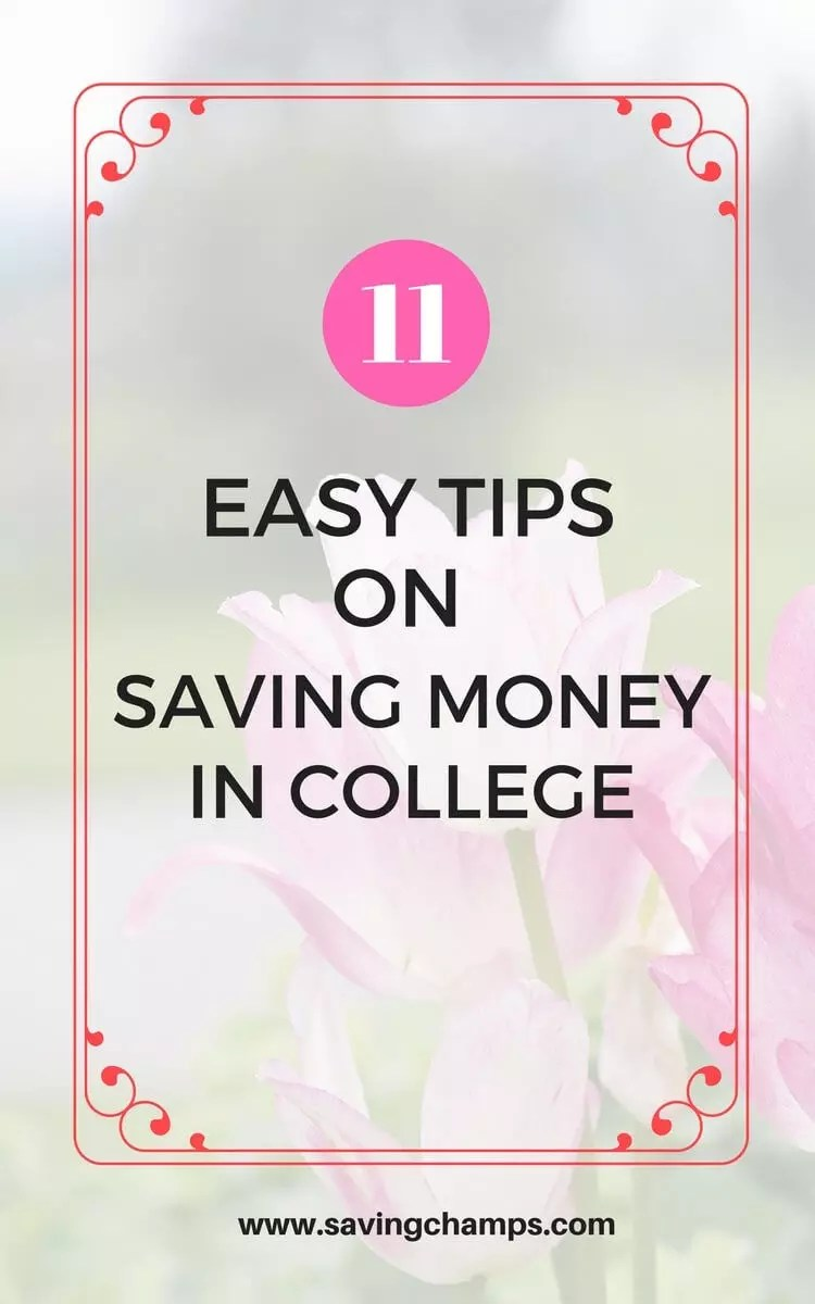11 easy tips on how to save money in college. Use these tips to cut spending and save money on food, housing, transportation, and textbooks.   college, frugal living, save money on education, student, University.