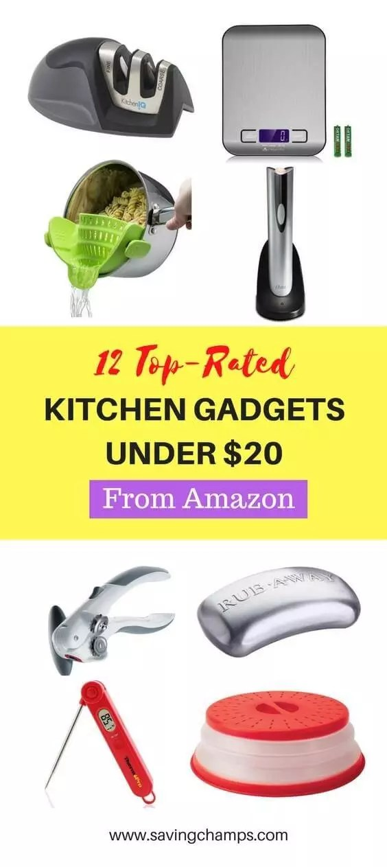 Check out these 12 best Amazon kitchen gadgets under $20. All of them have received more than 1000 customer reviews and have a rating higher than 4.0. Best kitchen gadgets, kitchen tools, kitchen accessories.