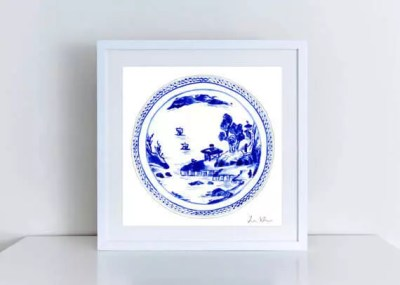 Blue White China Plate