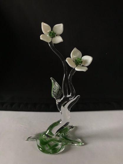 Dogwood Flowers Handblown Glass Sculpture