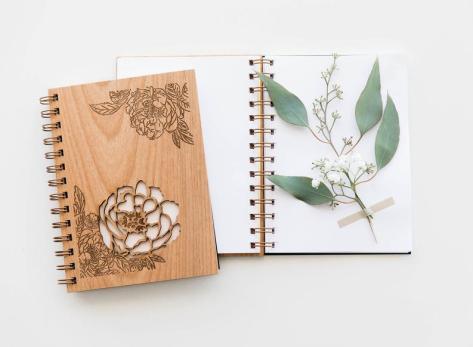 Peonies Wood Journal