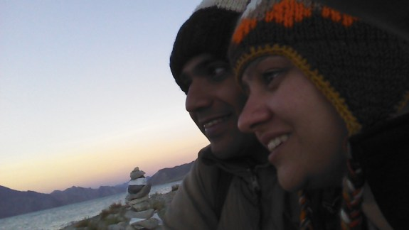 Naren & Sugandha at Pangong Lake