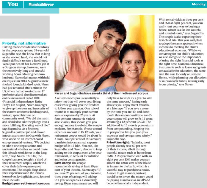 Retire at 40 Mumbai Mirror Article featuring Naren & Sugandha