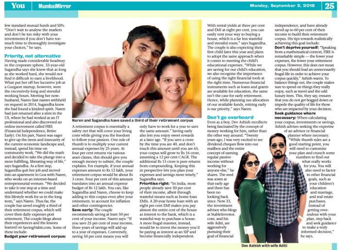 Snapshot of Mumbai Mirror Article Featuring Sugandha & Naren