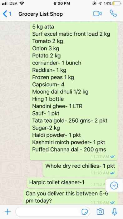 Grocery order via whatsapp