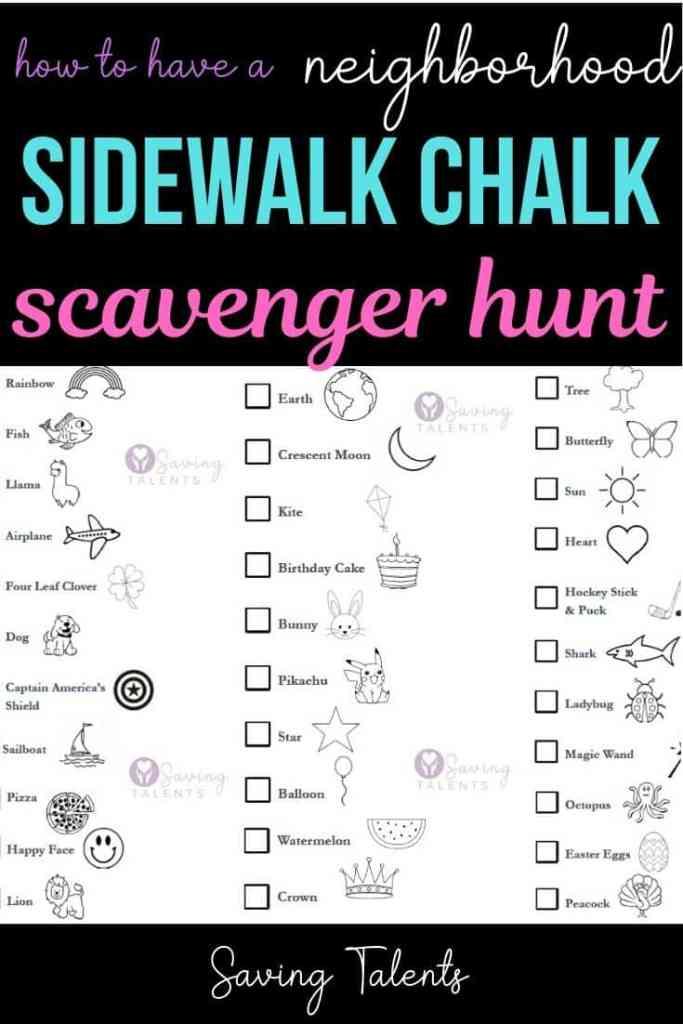 Neighborhood Outdoor Scavenger Hunt with Sidewalk Chalk
