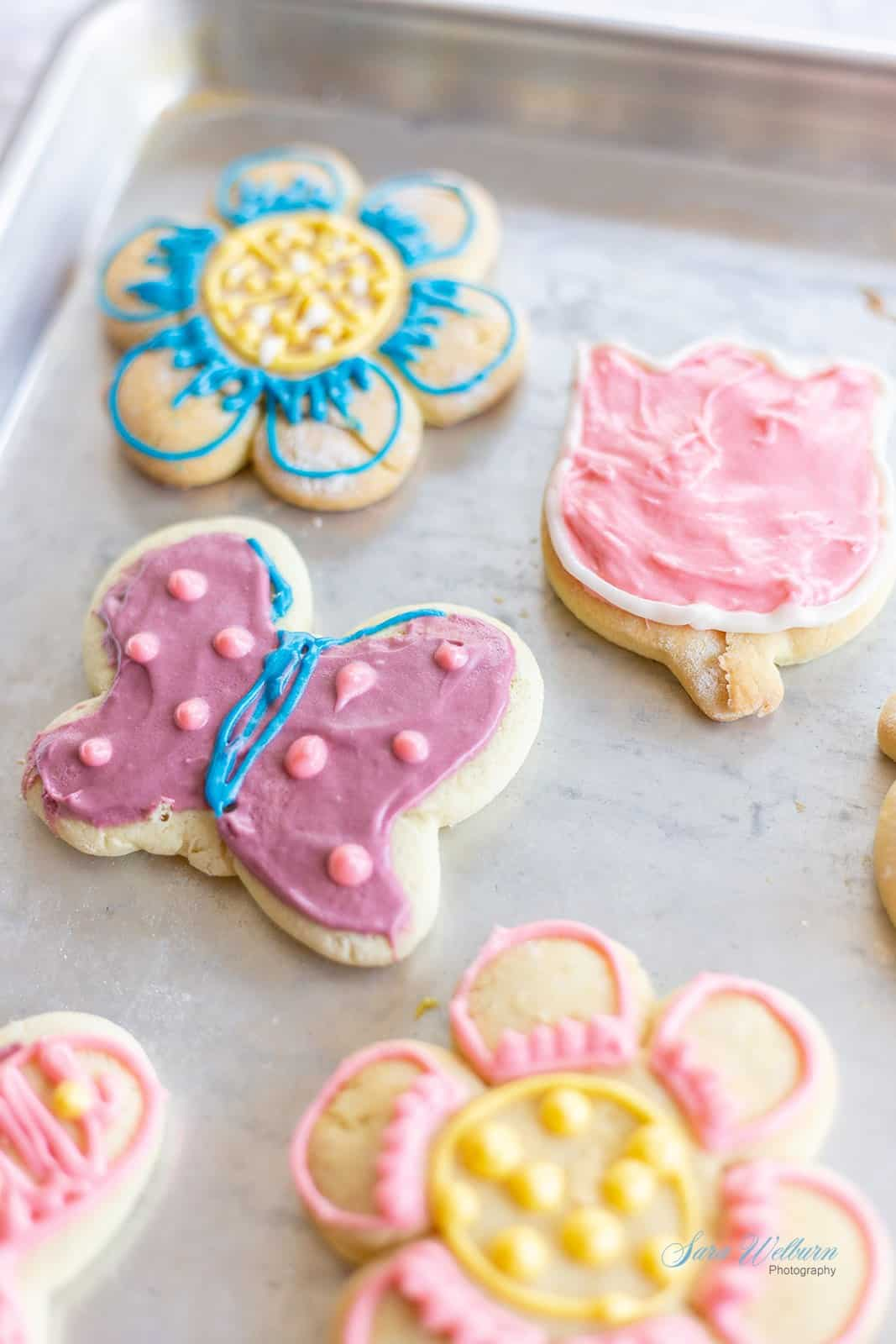 Spring Sour Cream Sugar Cookies with Cream Cheese Frosting