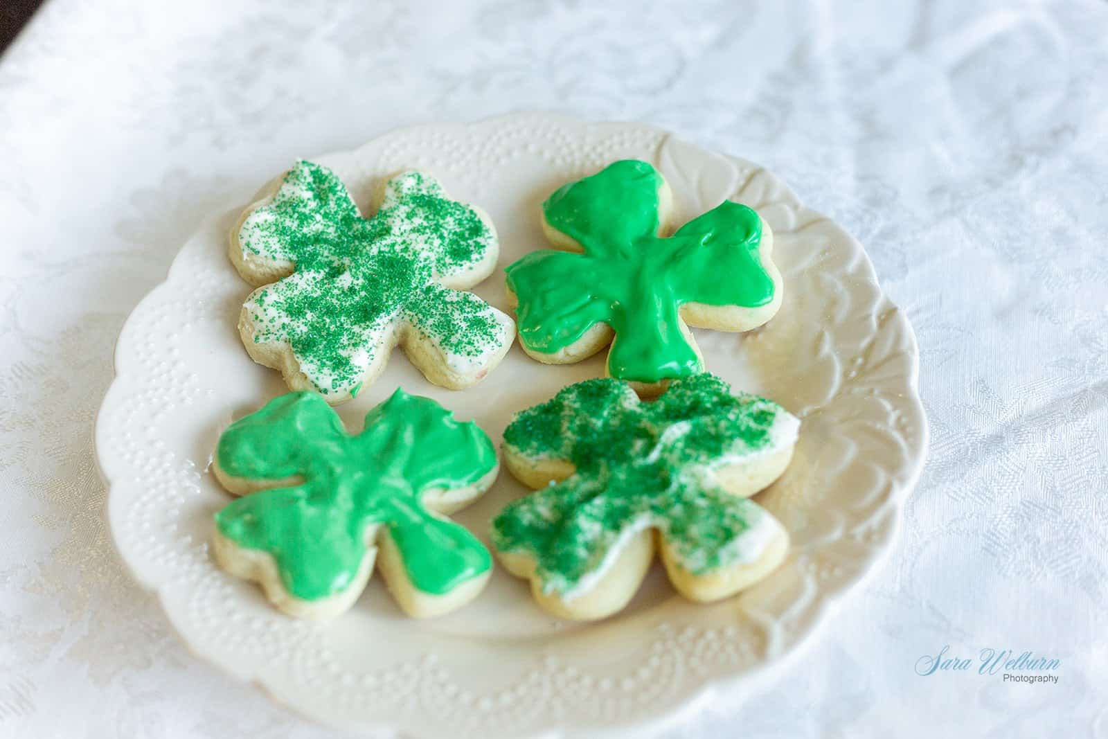 St. Patrick's Day Sour Cream Sugar Cookies with Cream Cheese Frosting