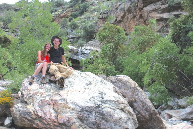 First View of Bridal Wreath Falls in Saguaro National Park
