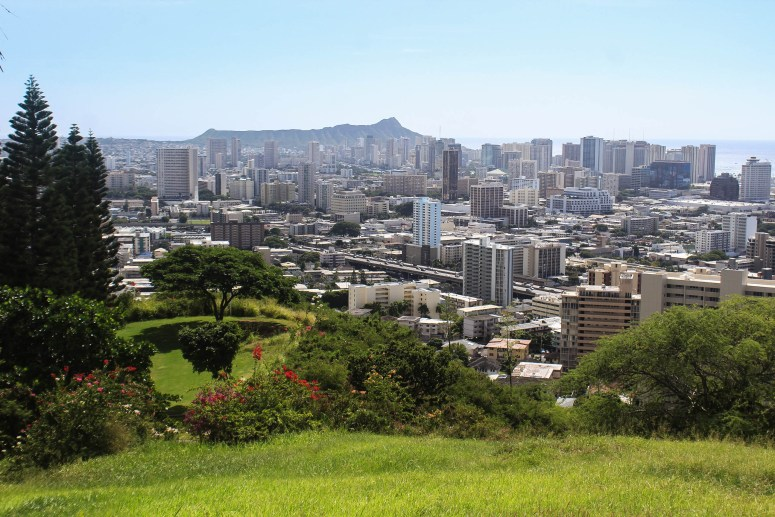 View of Honolulu and Diamond Head from National Memorial Cemetery