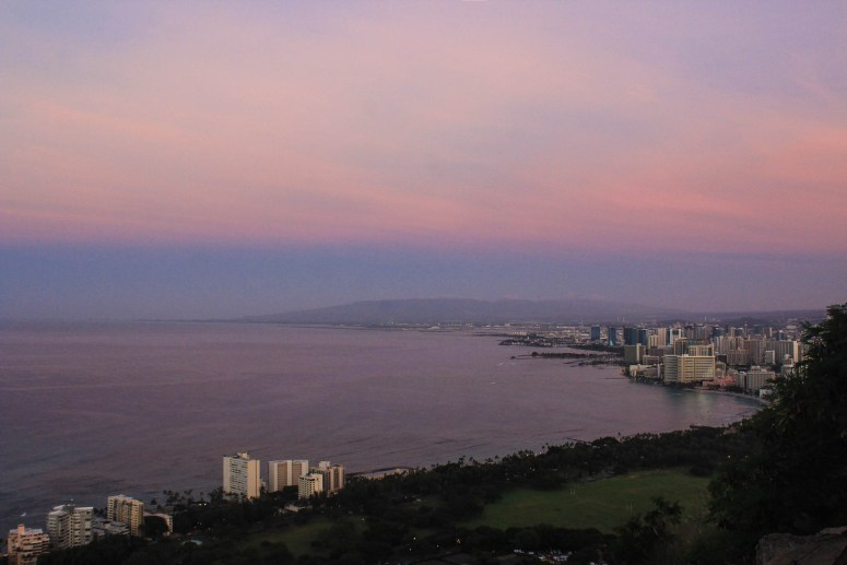 View of Honolulu and Leeward Oahu from Diamond Head at sunrise