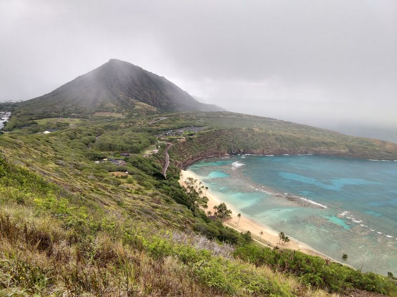 View of Koko Crater and Hanauma Bay from Koko Head Trail