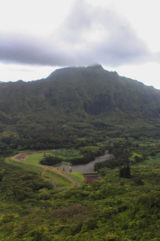 Overlook of Nu'uanu Reservoir and trail to Lulumahu Trail