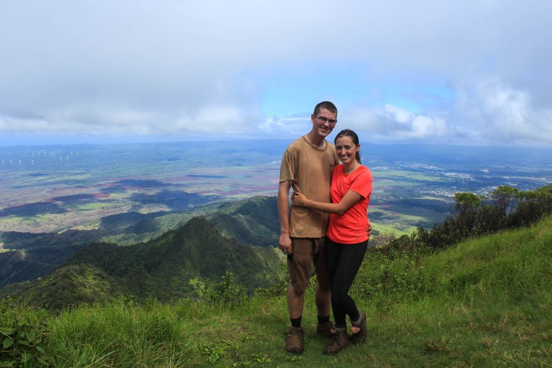 Couple on peak of Ka'ala mountain.