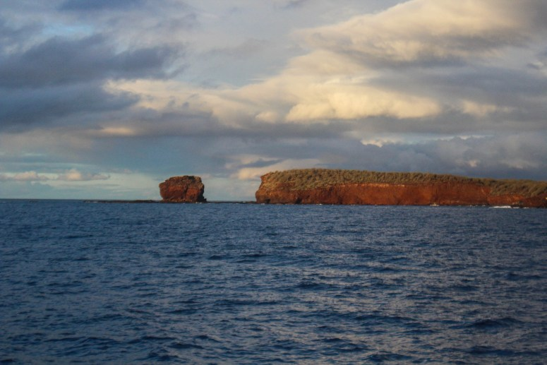 cliffs and small island off coast of Lanai