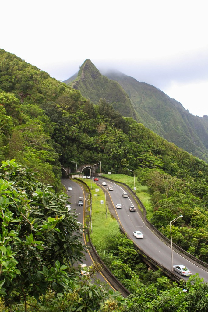 View of Pali Highway from the Old Pali Highway
