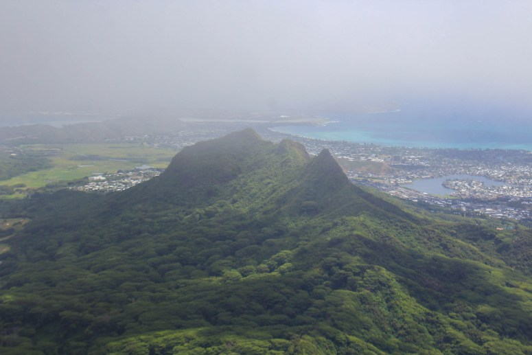 view of olomana from wiliwilinui ridge trail ko'olau mountains oahu hawaii