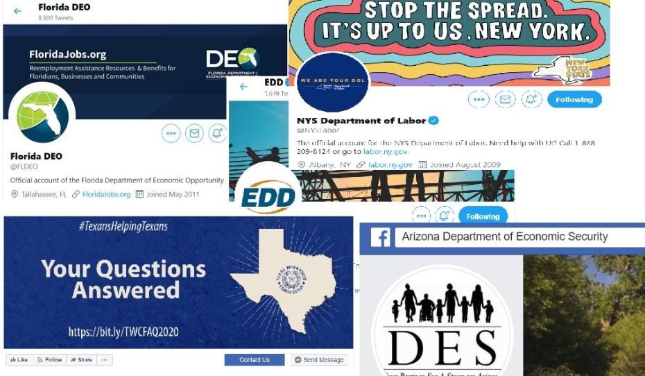 Social Media pages for state unemployment agencies