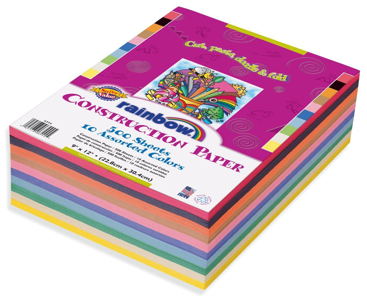 500 Count Assorted Colors 9 x 12 6555 Rainbow Super Value Construction Paper