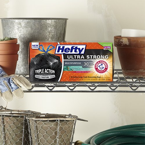 Hefty Ultra Strong Large Trash Bags Multipurpose, White Pine,30 Gallon,25 Count