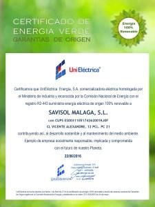 CERTIF.ENERGIA VERDE-SAVISOL, S.L.-CL VICENTE ALEXANDRE, 12 PCL. PC 21