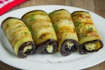 Eggplant rolls with cheese and garlic