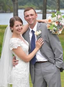 Lauren Hamel and Matt on their wedding day in Phippsburg
