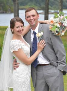 Lauren Hamel and Matt on their wedding day in Phippsburg
