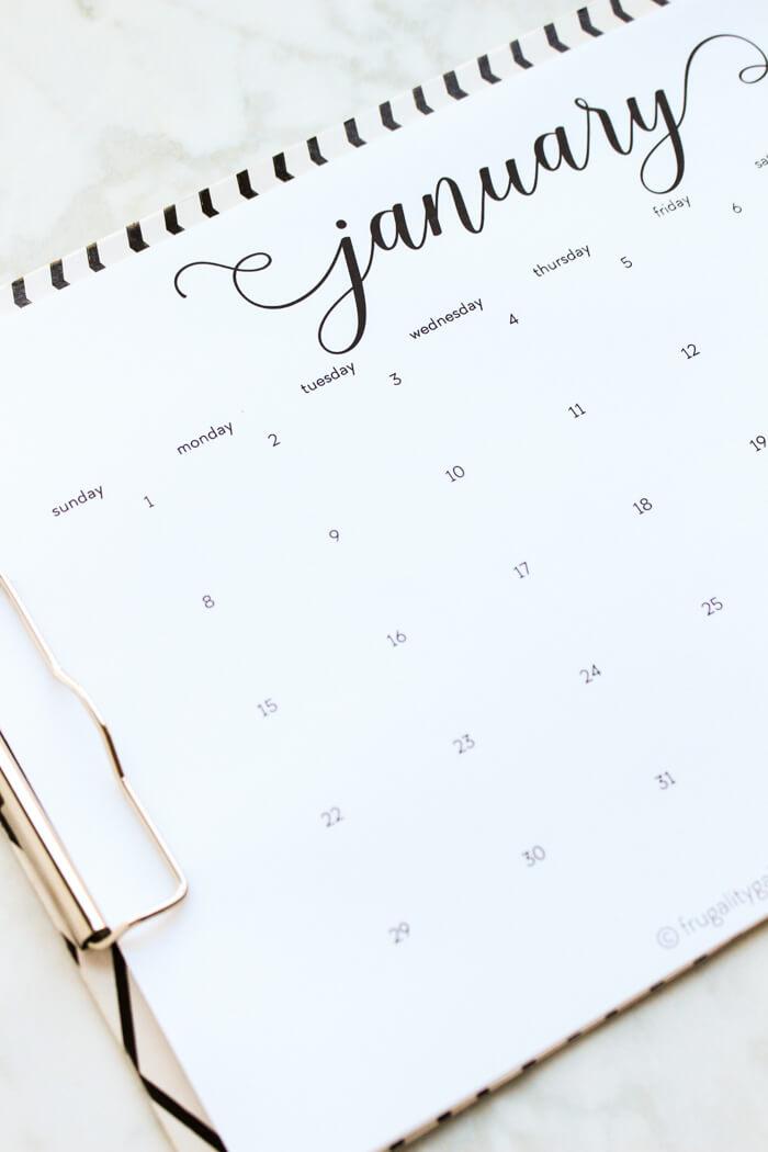 free printable calendar 2017 black and white dated calendar