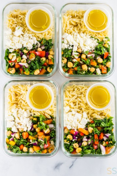 Chickpea Orzo Salad Lunch Meal Prep